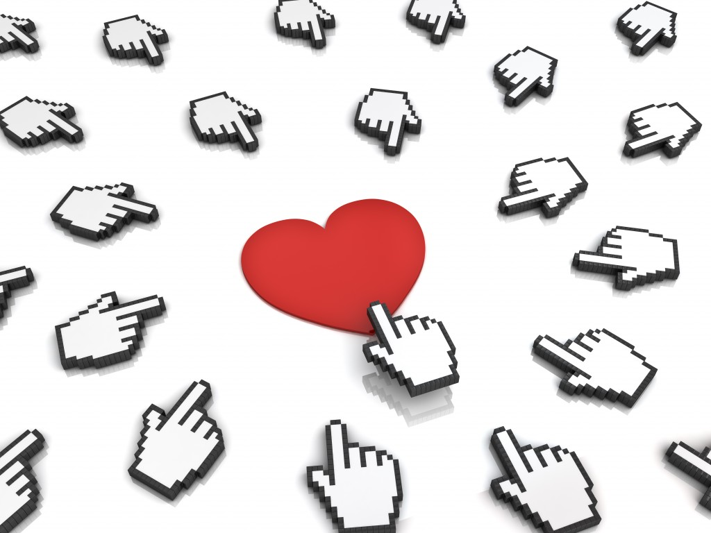 Many hand cursors mouse clicking red heart button or link isolated on white background