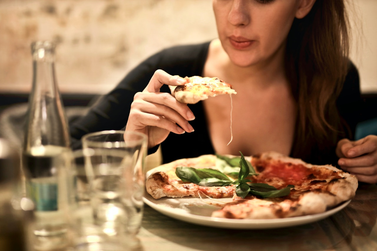 woman binge eating