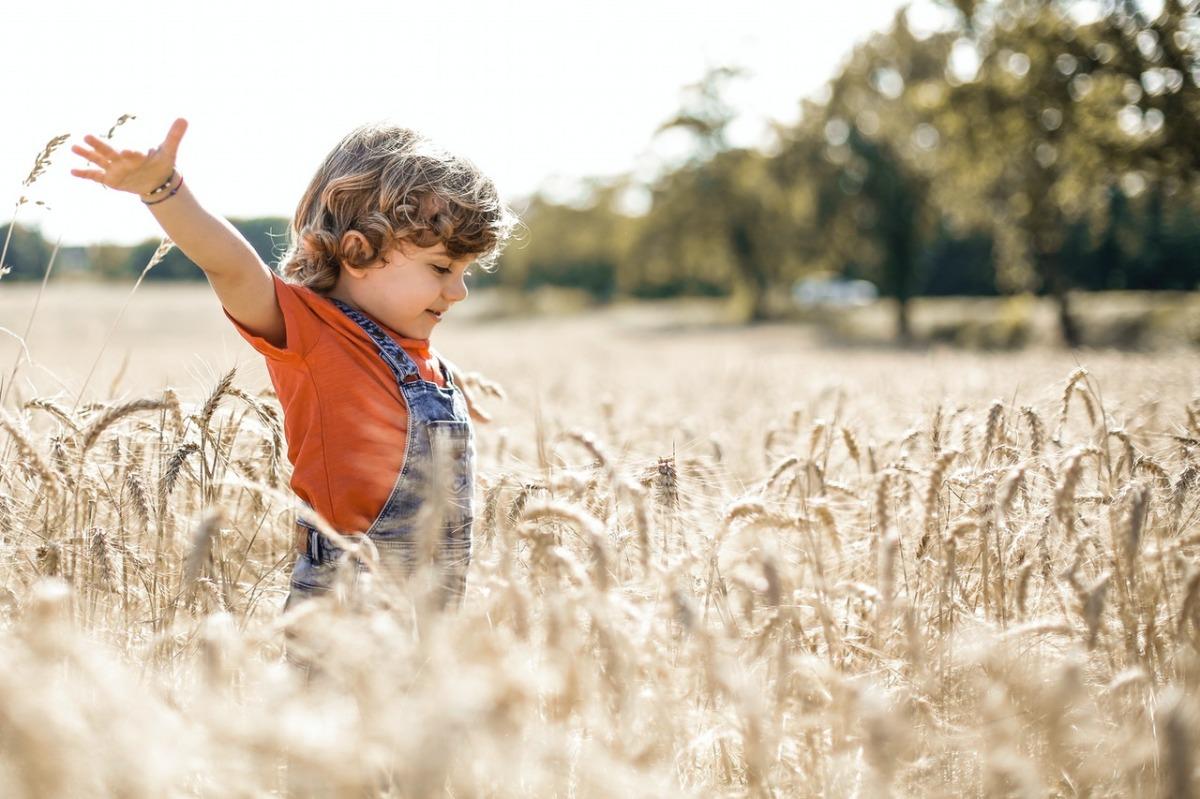 kid on a field