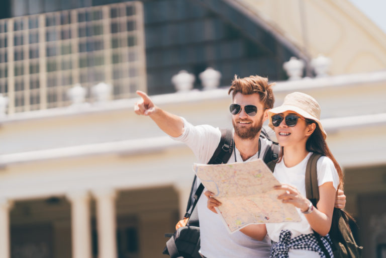 tourists with a map