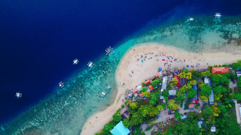top view of the beach