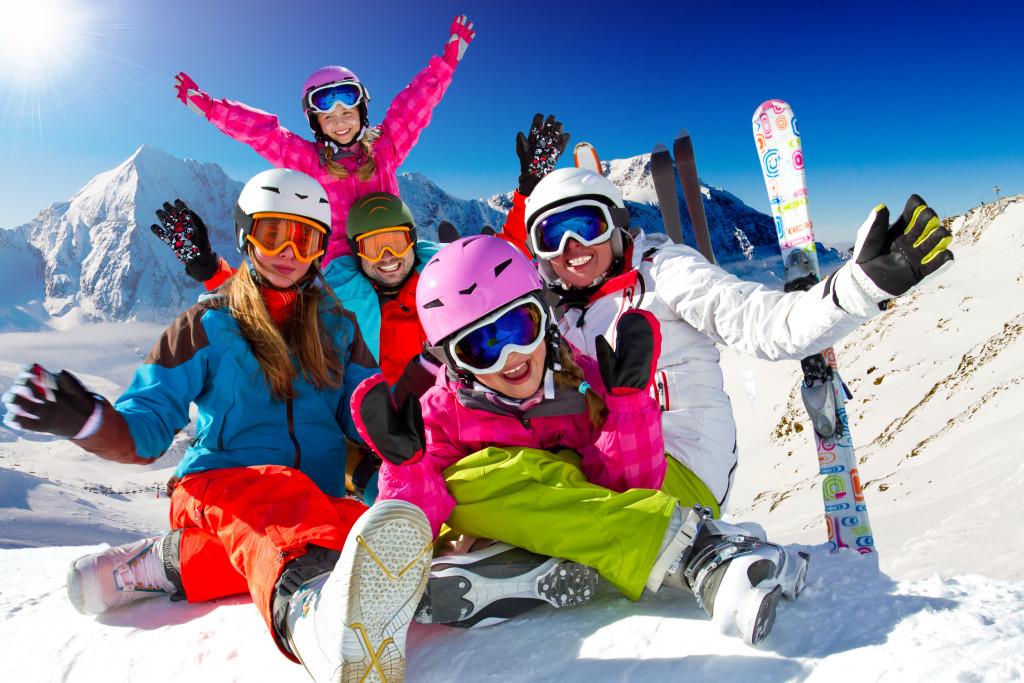family on ski vacation